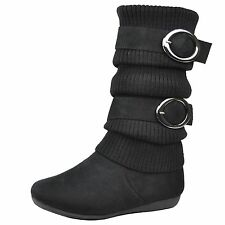 Girls Faux Suede Buckle Accent Knitted Winter Mid Calf Boots Black
