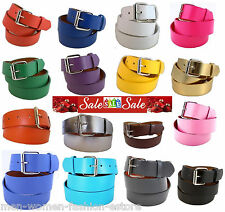 Unisex Men's Womens New Plain Leather Belt Snap-On Removable Roller Buckle Solid