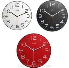 Leni 30cm Wall Clock With Glass Front & Silent Sweep Movement