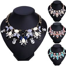 Moda Donna Collana Girocollo Fiore Cristallo Strass Statement Necklace Collar