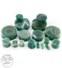 1 Pair of Green Agate Stone Plugs - Sizes / Gauges (8 Gauge - 1 Inch) - New!