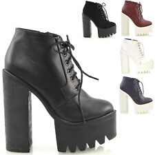 Ladies Chunky High Heel Cleated Sole Womens Platform Ankle Boots Shoes Size 3-8