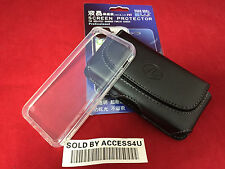 BLACK LEATHER CASE BELT CLIP POUCH & CLEAR SILICONE GEL SLIM CASE FOR IPHONE 5C
