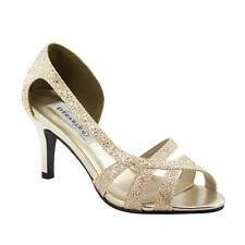 "Champagne Gold Glitter Prom Formal Bridal D'orsay Strappy Kitten 2.5"" Heel Shoe"