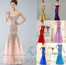 Mermaid Sequins Long Prom Bridesmaid Dress Ball Gown Party Formal Evening Dress