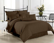 Hotel Collection 1000TC Brand New Brown Stripe 3pc Duvet Set 100%Egyptian Cotton