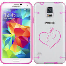 For Samsung Galaxy S3 S4 S5 Transparent Clear Hard TPU Case Cover Heart Horse