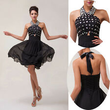 2014 CHEAP~Short Chiffon Bridesmaid Formal Party Gown Evening Prom Dresses BLACK