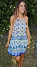 Navy, aqua, green, purple paisley print summer dress from Angel Biba BNWT 6 - 12