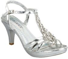 Yummy Rhinestone Platform Kitten Low Heel T Strap Party Wedding Evening Shoe