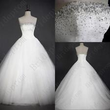 New White/Ivory Wedding Dresses Long Bridal Gown Tulle Ball Gowns With Petticoat