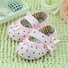 New Baby 3-18M Girls Dots Flats Bow Toddler Soft Soled Prewalker Dress Shoes