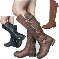 Women's Fashion Riding Knee High Boots Shoes Low Heel Faux Leather Size 5-10