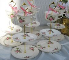 VINTAGE 3 TIER TIDBIT CAKE STAND SERVING TRAY CUP CHINA SHABBY CHIC WEDDING
