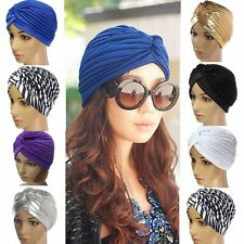 Fashion Indian Cap Pleated Head Wrap Turban Stretchy Band Hat Cloche Chemo Hijab