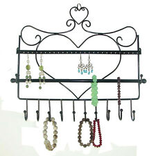 Heart Wall Mount Jewelry Organizer Hanging Earring Necklace Jewelry Holder