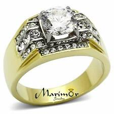 MEN'S 2.80 CT ROUND CUT 14K GOLD PLATED STAINLESS STEEL SIMULATED DIAMOND RING