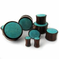 Turquoise Stone Inlay Wood Plugs - Sizes / Gauges (6G - 1 Inch) - Sold in Pairs