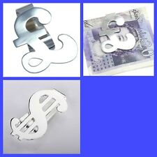 NEW! Silver Plated £ Pound or $ Dollar MONEY CLIP - Ideal Christmas Gift Idea