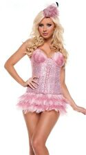 Sexy Womens Pink Sequin Flamingo Burlesque Corset Feather Showgirl Costume L