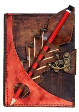 Red Pencil Holding Brown Leather Journal / Diary / Lock / Notebook / Notepad