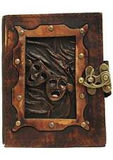 Happy Sad Drama Mask Pendant Brown Leather Journal / Diary / Notebook / Notepad