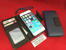 """BLUE LEATHER CASE WALLET FLIP COVER & CLEAR SCREEN PROTECTOR FOR IPHONE 6 4.7"""""""
