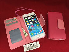 PINK LEATHER FLIP COVER ID Credit Card Holder STAND WALLET CASE FOR IPHONE 6S 6