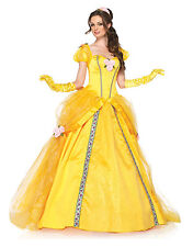 Deluxe Yellow Belle Costume Fairytale Fancy Dress Ball Gown Outfit UK Size 6/8