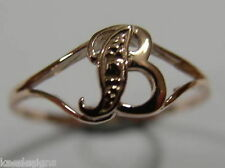 KAEDESIGNS, GENUINE, SOLID YELLOW OR ROSE OR WHITE GOLD 375 INITIAL RING  B