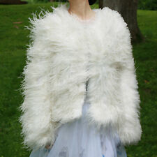 Blush pink white real hairy Ostrich Feather furry Fur coat jacket bolero bridal