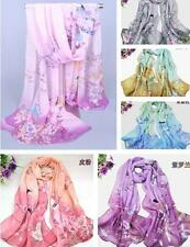 HU US New Women's Printed Flower Soft Silk Chiffon Neck Scarf Wrap Shawl Stole