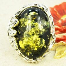 SOLITAIRE OVAL GREEN PRESSED BALTIC AMBER RING SIZE 6 7 8 9 10 R60-4