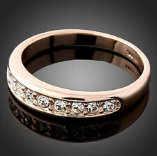 bright 18K rose Gold GP Austrian crystal Surround Wedding Get married Rings