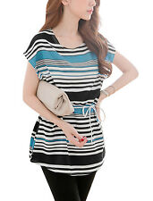 Lady Pullover Round Neck Cozy Fit Stripes Pattern Tunic Top w Belt