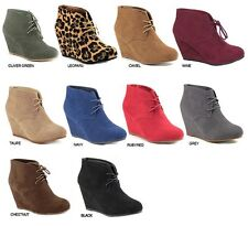New Womens Round Toe Lace Up Wedge Heels Suede Ankle Boots Booties Sz 5.5-10