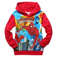 Spiderman Boys Jumper Hoodie Red