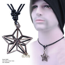 Leather Star Charm Necklace Pendent Set for Him Cool Stylish CAGM000A2