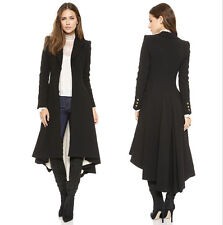 New Womens Ladies Autumn Winter Long Black Windbreaker Trench coat Outerwear