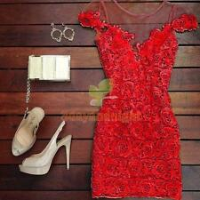 Sexy Women Short Sleeve Lace Formal Fashion Party Evening Cocktail Mini Dress NI