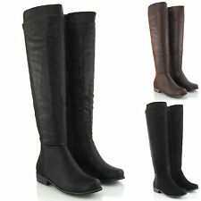 Womens Over The Knee High Elasticated Stretch Zip Tall Flat Ladies Boots Size