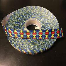 "7/8"" Autism Awareness Puzzle Piece Grosgrain Ribbon by the Yard (USA SELLER!)"
