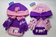 Peppa Pig Hat Scarf Gloves Winter Set Toddlers Children Xmas Gift Idea 1-3 Years