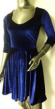 NEW LOOK WOMENS NAVY BLUE VELVET VELOUR SKATER MINI PARTY DRESS SIZES 6-16