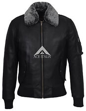Men's Army BOMBER Black Aviator Fur Collar Real Skipper Cow Hide Leather Jacket