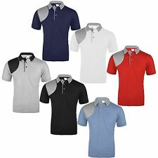 MENS CASUAL SHORT SLEEVE PLAIN QUILTED POLO SHIRT T SHIRT TOP COTTON MIX M-XXL