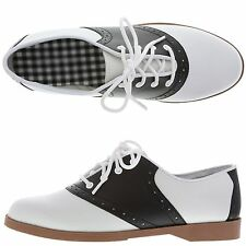 WOMEN'S SADDLE SHOES ~ ALL SIZES (5 THROUGH 10) 50'S STYLE ~ BLACK & WHITE ~ NEW