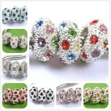 Charm Big Hole Crystal Rhinestone Pave Rondelle Spacer Beads Fit European Charms