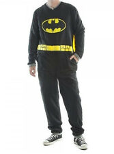 Adult Mens Batman Fleece Pajamas Union Suit w/ Cape S-2XL One Piece FootLESS
