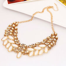 Gold Plated GP clear Rhinestone fashion Necklace Crystal Sweater Necklace US